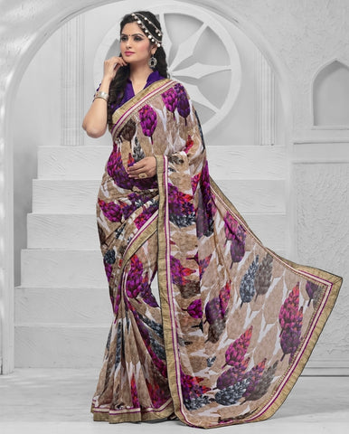 Light Brown & Purple Color Georgette Kitty Party Sarees : Suvandana Collection  YF-41213
