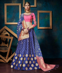 Blue Color Banarasi Silk Designer Lehenga For Wedding Function : Svaranjali Collection  YF-57566
