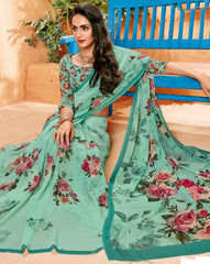 Green Color Georgette Party Wear Sarees : Prashvita Collection  YF-57569