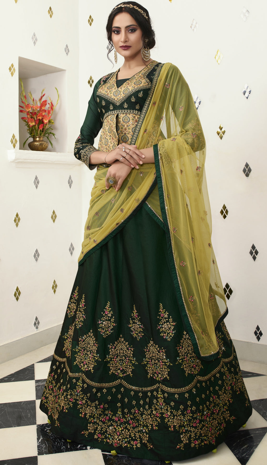 Bottle Green Color Raw Silk Exquisite Party Wear Lehengas NYF-6175