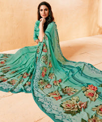 Green Color Georgette Party Wear Sarees : Prashvita Collection  YF-57577