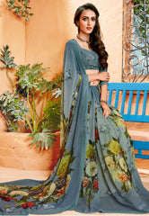 Grey Color Georgette Party Wear Sarees : Prashvita Collection  YF-57578