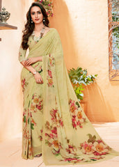 Lemon Green Color Georgette Party Wear Sarees : Prashvita Collection  YF-57580
