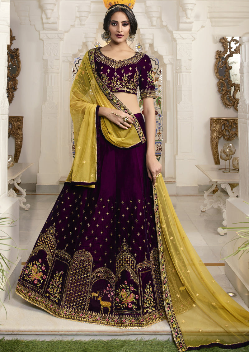 Purple Color Raw Silk Exquisite Party Wear Lehengas NYF-6176