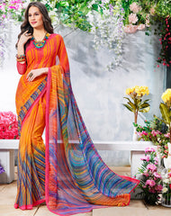 Orange & Blue Color Georgette Casual Wear Sarees : Krishnavi Collection  YF-57589