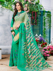 Cream & Green Color Georgette Casual Wear Sarees : Krishnavi Collection  YF-57590