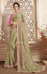 Green Color Gadwal Cotton Casual Party Sarees : Shritika Collection  YF-46037