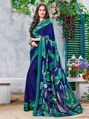 Blue & Green Color Georgette Casual Wear Sarees : Krishnavi Collection  YF-57592