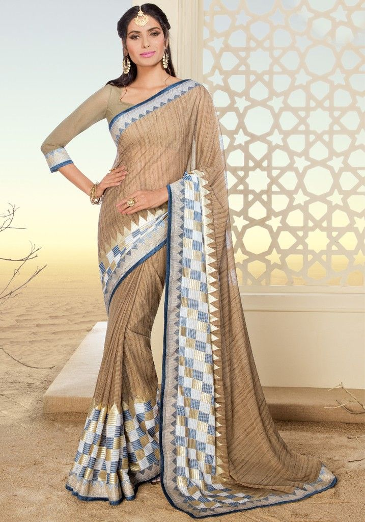 Beige Color Chiffon Brasso Designer Festive Sarees : Preyashi Collection  NYF-1315 - YellowFashion.in