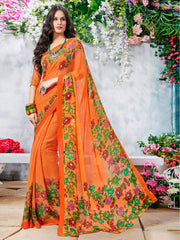 Orange Color Georgette Casual Wear Sarees : Krishnavi Collection  YF-57595