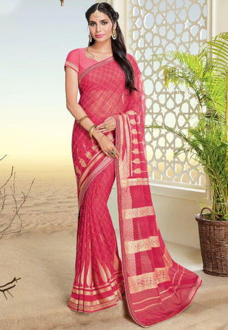 Pink Color Chiffon Brasso Designer Festive Sarees : Preyashi Collection  NYF-1316