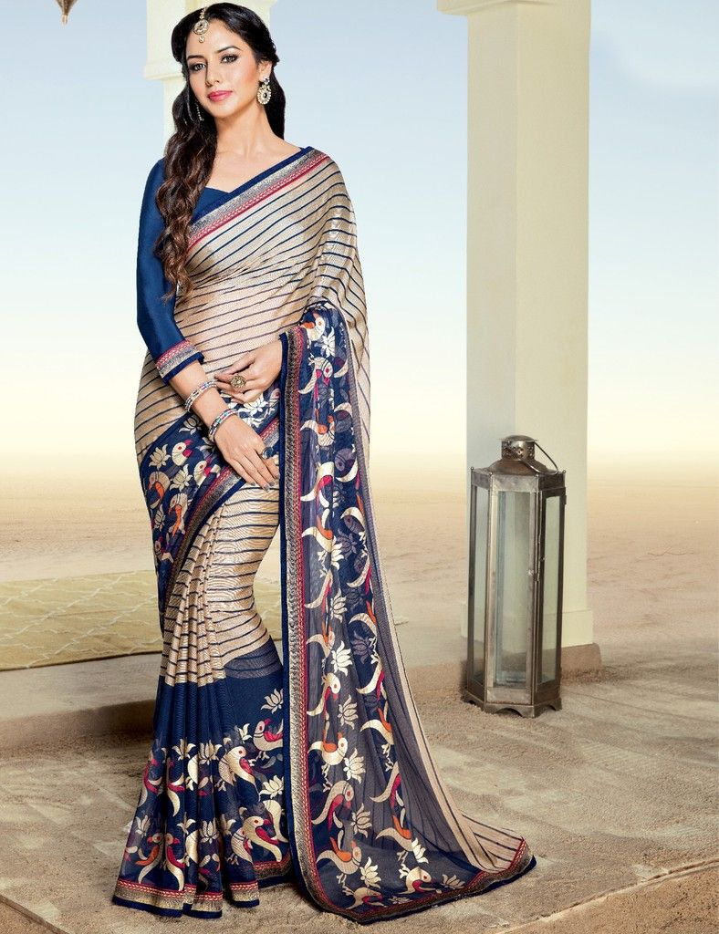 Light Coffee & Blue Color Chiffon Brasso Designer Festive Sarees : Preyashi Collection  NYF-1317 - YellowFashion.in