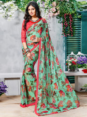 Green Color Georgette Casual Wear Sarees : Krishnavi Collection  YF-57599