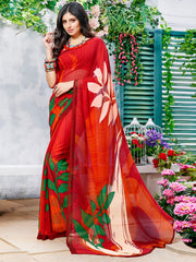 Red Color Georgette Casual Wear Sarees : Krishnavi Collection  YF-57600