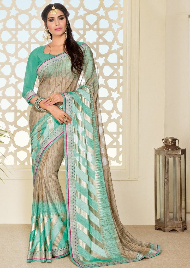 Beige Color Chiffon Brasso Designer Festive Sarees : Preyashi Collection  NYF-1318 - YellowFashion.in