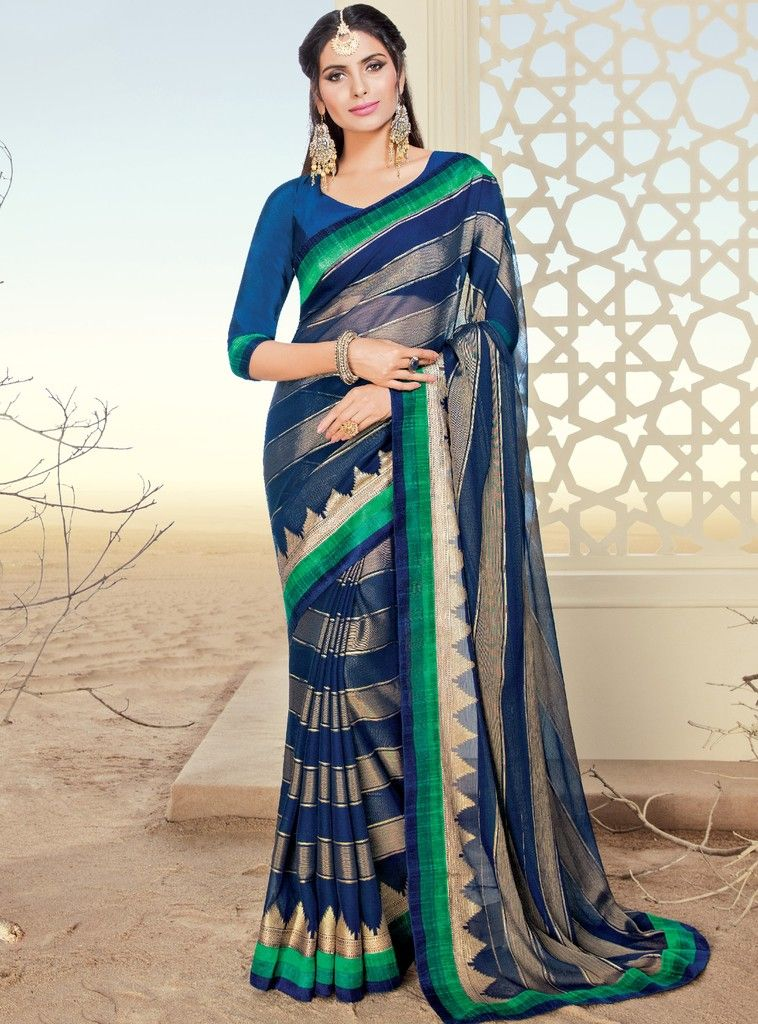 Blue Color Chiffon Brasso Designer Festive Sarees : Preyashi Collection  NYF-1319 - YellowFashion.in
