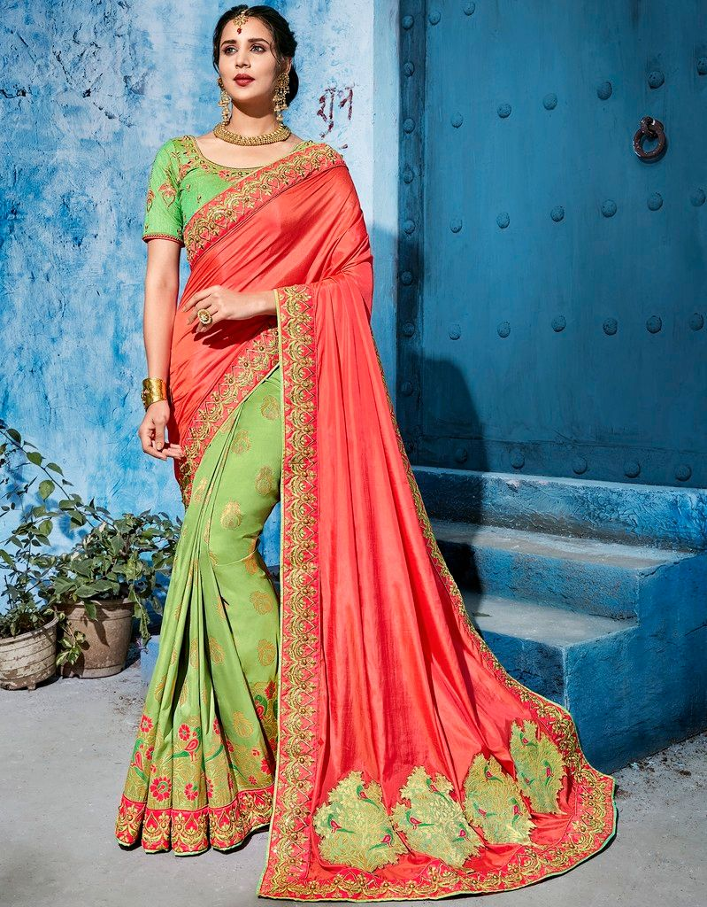 Green & Peach Color Raw Silk Designer Wedding Wear Sarees : Pakhudi Collection  NYF-1529 - YellowFashion.in