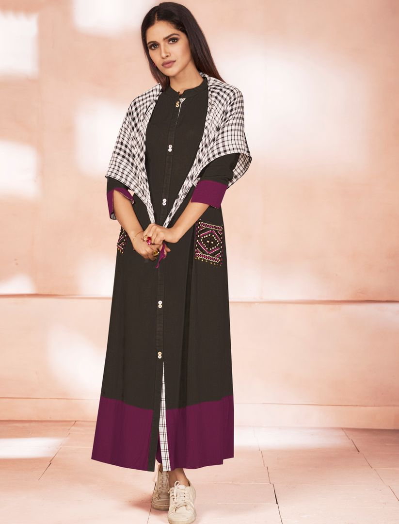 Black Color Weaving Cotton Casual Long Kurtis NYF-4813