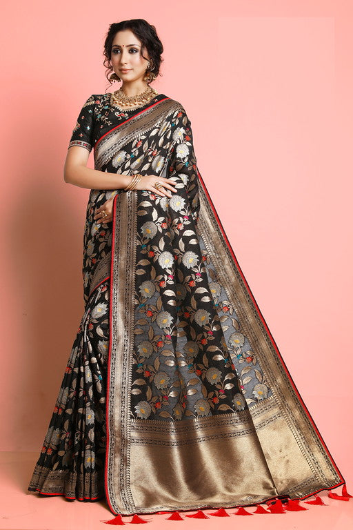 Black and Red Color Weaving Silk  Wedding Saree -  Shehzadi Collection YF#10619