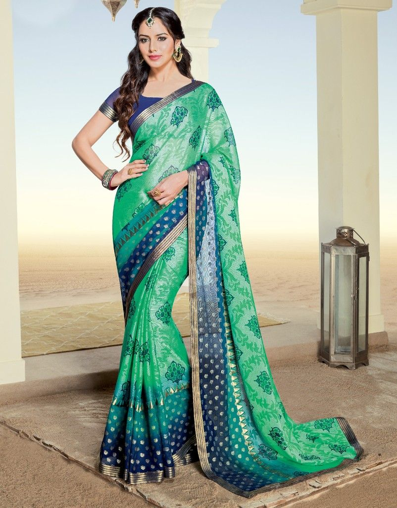 Green Color Chiffon Brasso Designer Festive Sarees : Preyashi Collection  NYF-1321 - YellowFashion.in