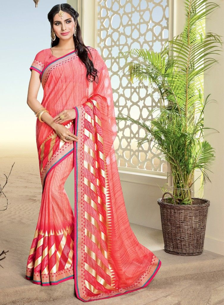 Pink Color Chiffon Brasso Designer Festive Sarees : Preyashi Collection  NYF-1322 - YellowFashion.in