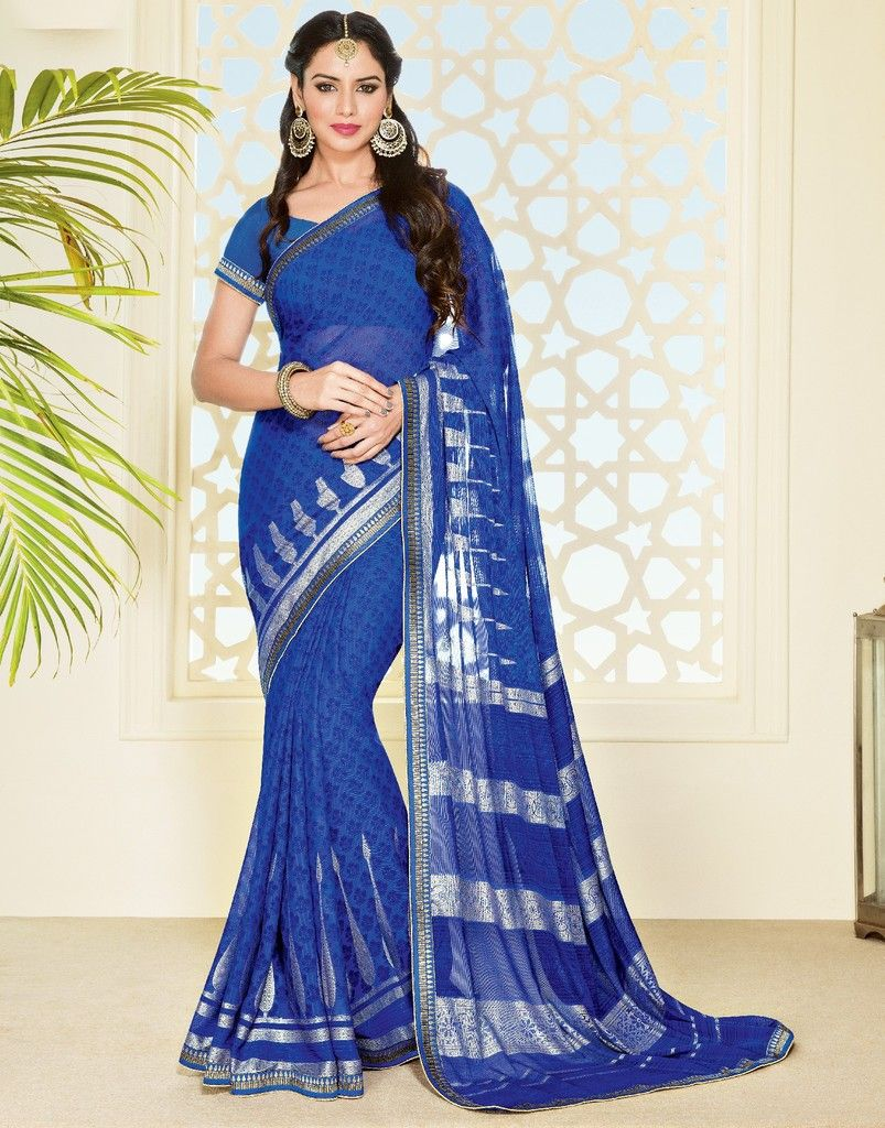 Blue Color Chiffon Brasso Designer Festive Sarees : Preyashi Collection  NYF-1323 - YellowFashion.in