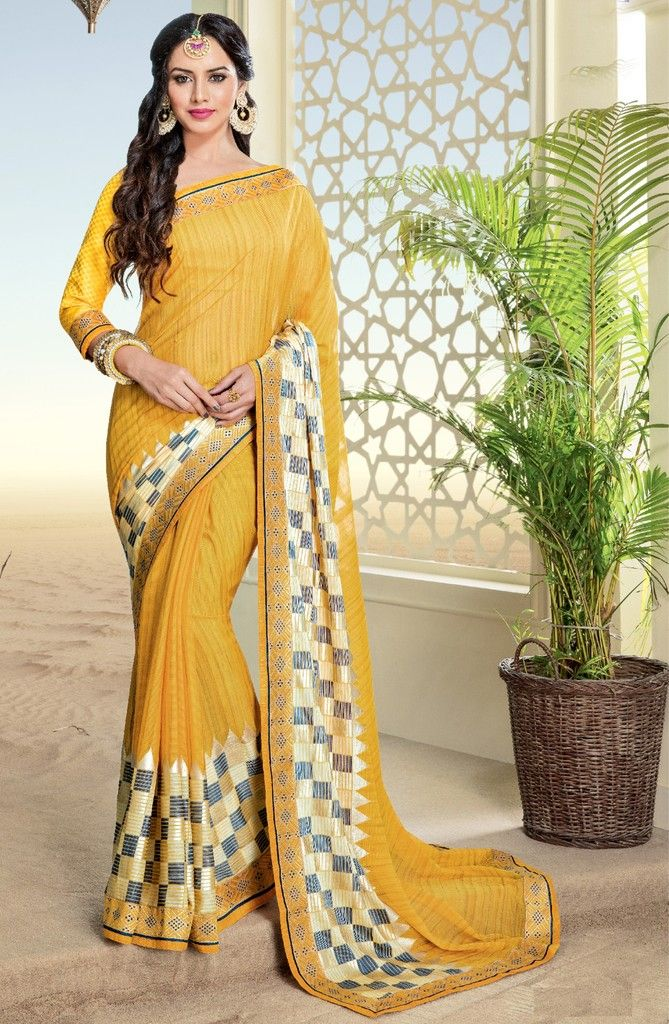 Yellow Color Chiffon Brasso Designer Festive Sarees : Preyashi Collection  NYF-1324 - YellowFashion.in