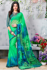 Leaf Green Color Georgette Casual Wear Sarees : Krishnavi Collection  YF-57607