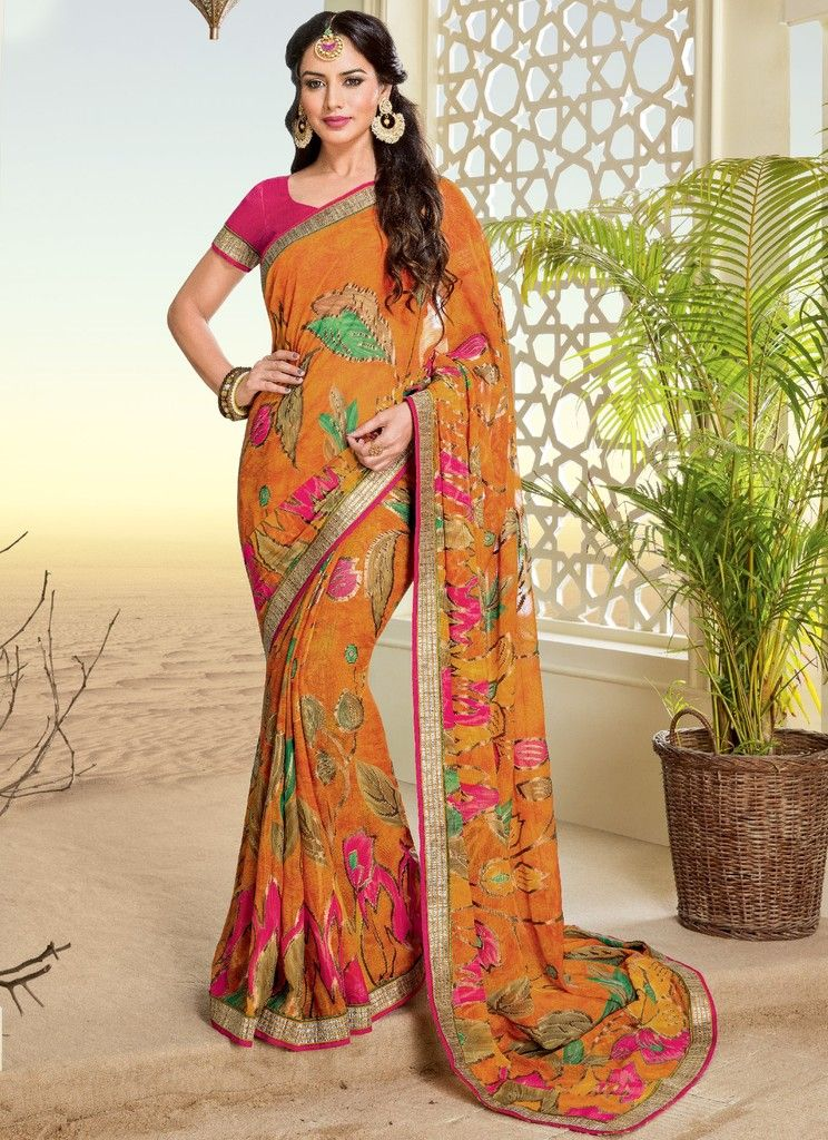 Orange Color Chiffon Brasso Designer Festive Sarees : Preyashi Collection  NYF-1325 - YellowFashion.in
