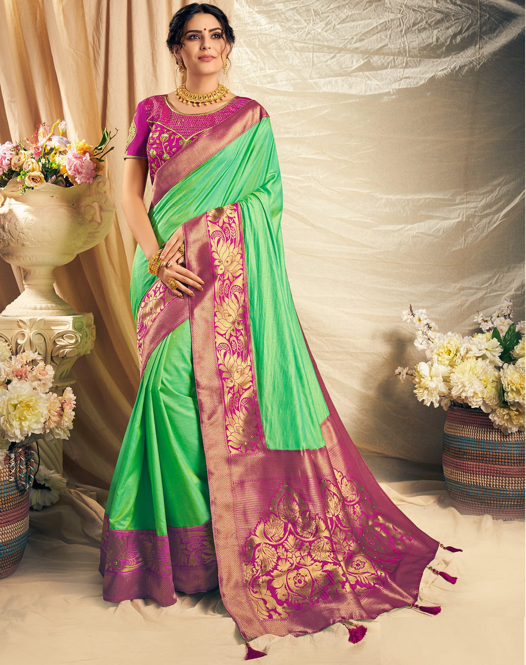 Green Color Silk Beautiful Designer Sarees NYF-5247
