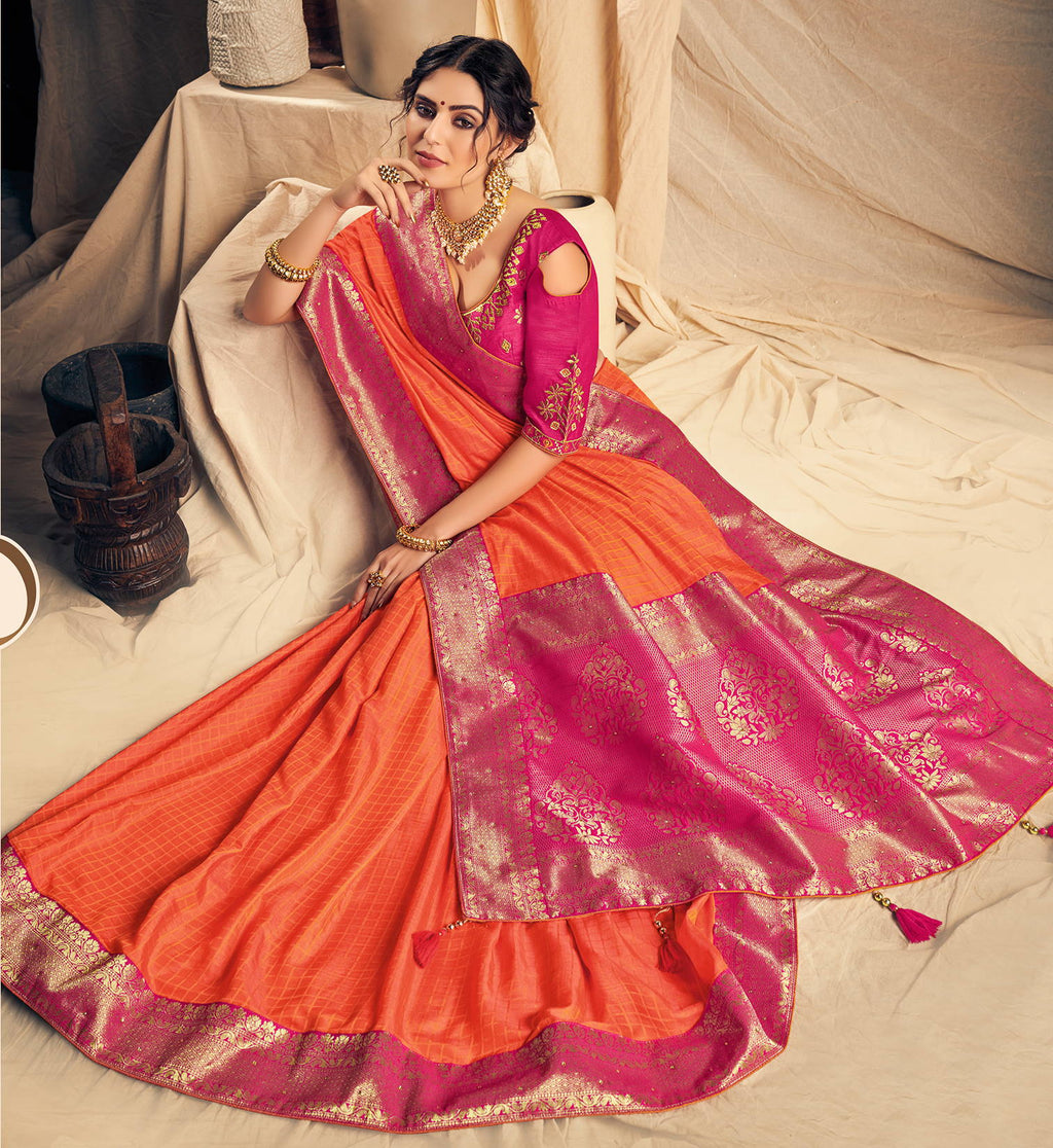 Orange Color Silk Dazzling Designer Sarees NYF-4163 - YellowFashion.in