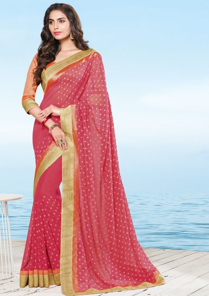 Pink Color Chiffon Designer Festive Sarees : Preyashi Collection  NYF-1326 - YellowFashion.in