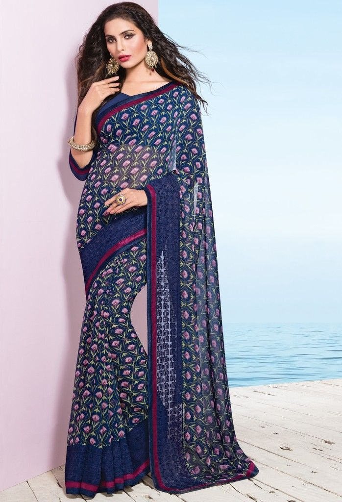 Blue Color Georgette Designer Festive Sarees : Preyashi Collection  NYF-1327 - YellowFashion.in