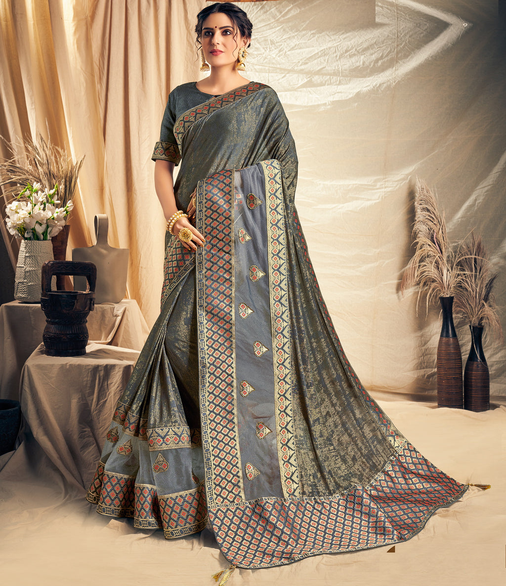 Grey Color Silk Beautiful Designer Sarees NYF-5249