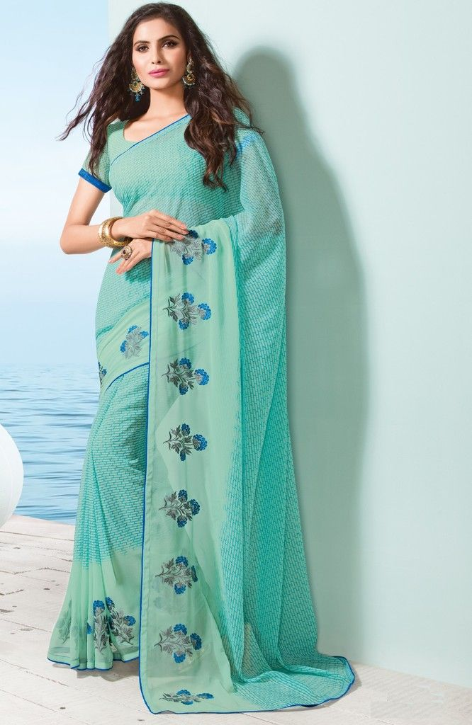Light Aqua Blue Color Georgette Designer Festive Sarees : Preyashi Collection  NYF-1328 - YellowFashion.in