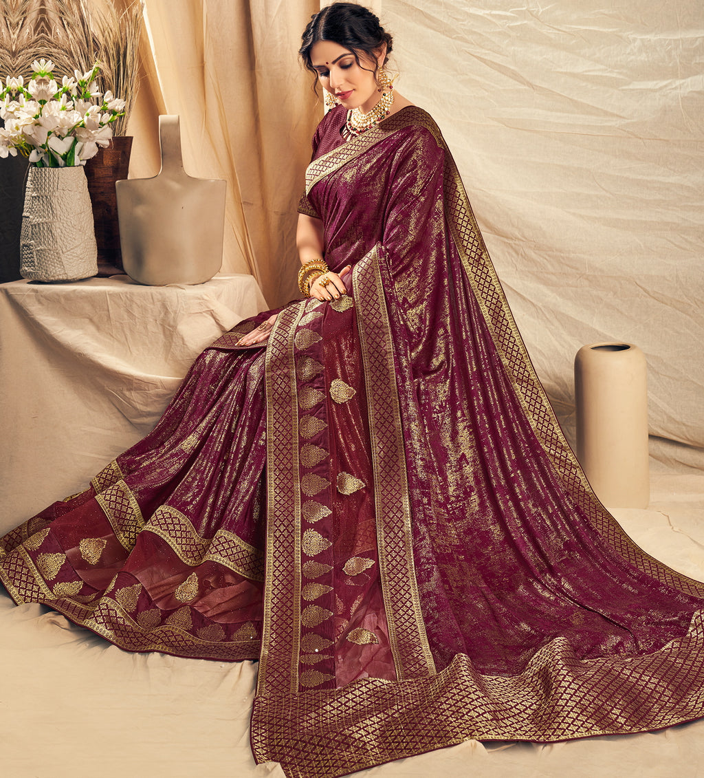 Purple Color Lycra Beautiful Designer Sarees NYF-5250