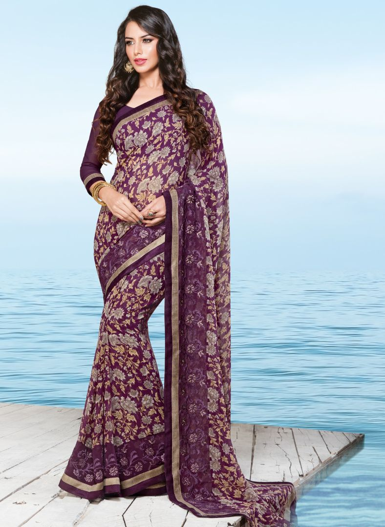 Purple Color Georgette Party & Function Wear Sarees : Ranjita Collection  NYF-2457 - YellowFashion.in