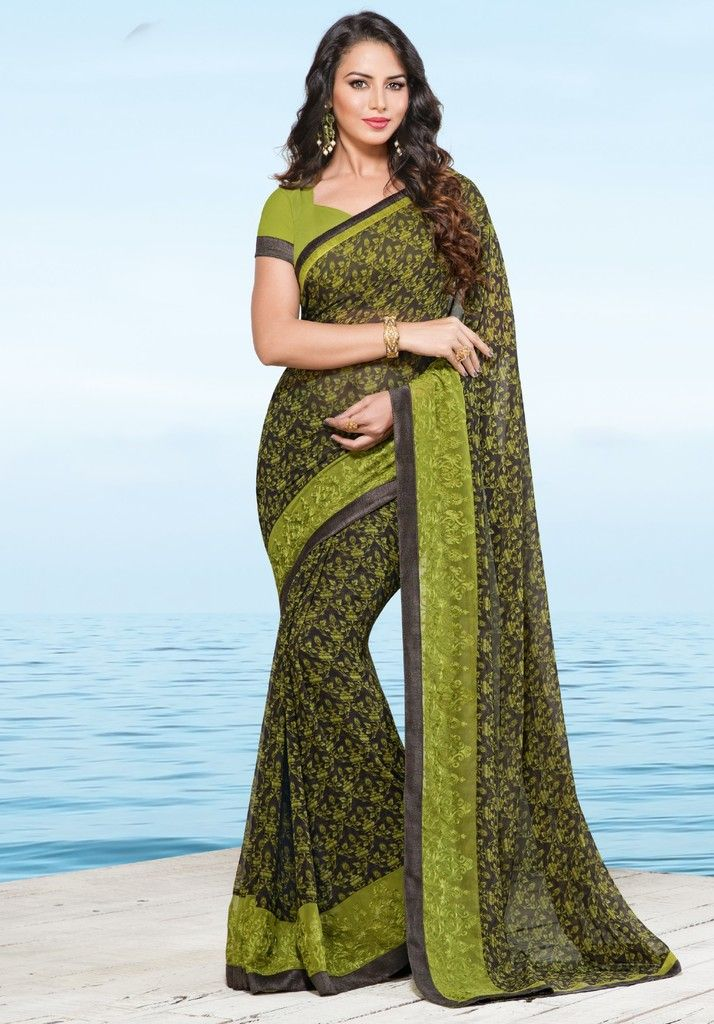 Olive Green Color Georgette Designer Festive Sarees : Preyashi Collection  NYF-1329 - YellowFashion.in