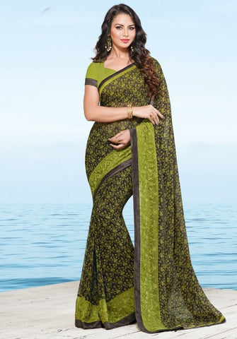 Olive Green Color Georgette Designer Festive Sarees : Preyashi Collection  NYF-1329