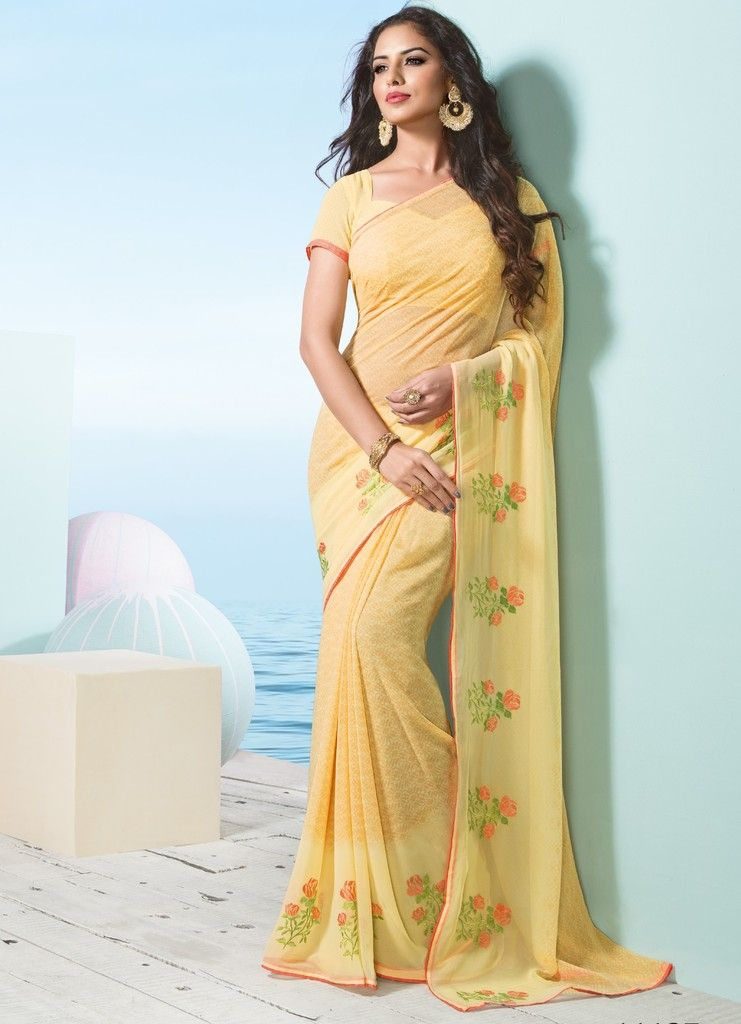 Yellow Color Georgette Designer Festive Sarees : Preyashi Collection  NYF-1333 - YellowFashion.in