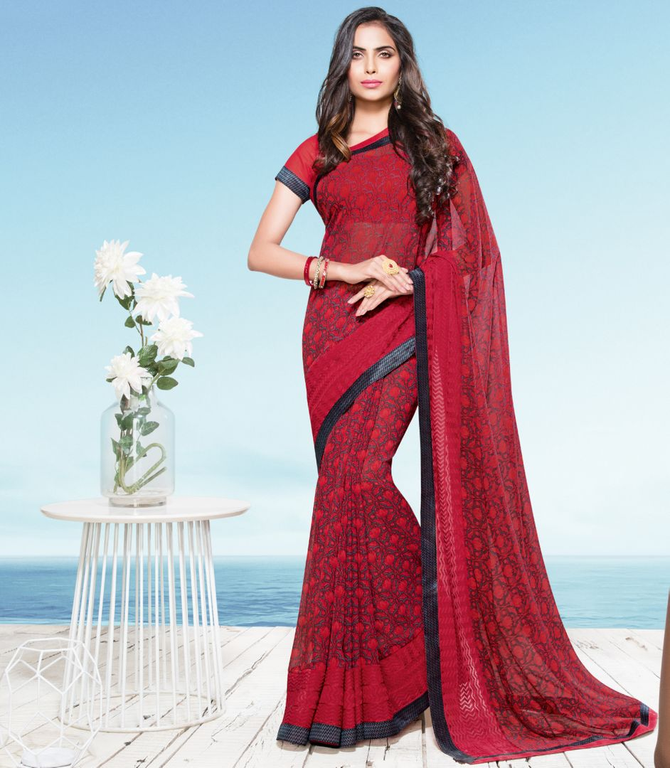 Red Color Georgette Party & Function Wear Sarees : Ranjita Collection  NYF-2458 - YellowFashion.in