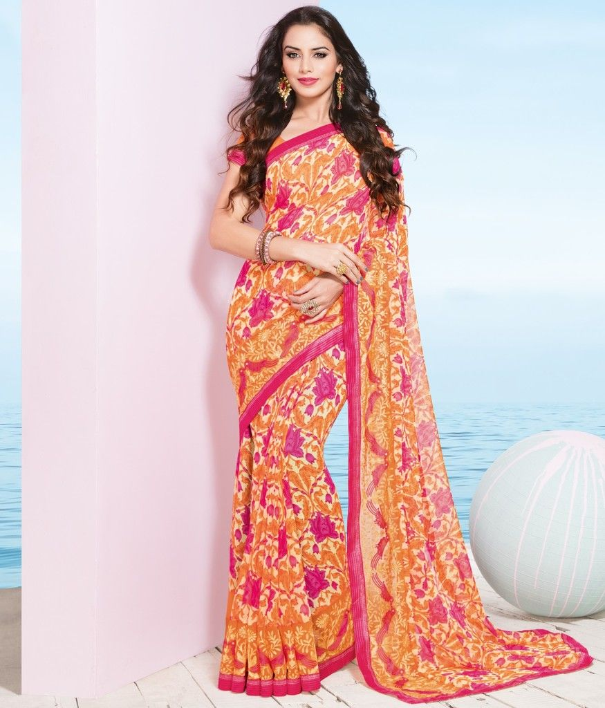 Pink & Orange Color Georgette Designer Festive Sarees : Preyashi Collection  NYF-1335 - YellowFashion.in