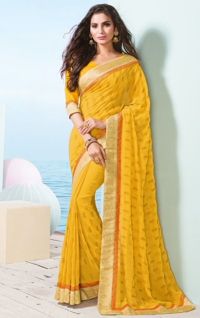Yellow Color Chiffon Designer Festive Sarees : Preyashi Collection  NYF-1336 - YellowFashion.in