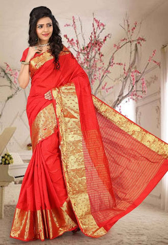 Reddish Orange Color Sambhalpuri Cotton Silk Casual Function Sarees : Shubhra Collection  YF-39935