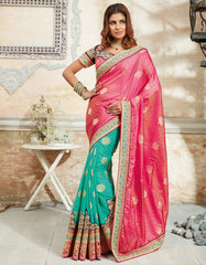 Pearl Green & Pink Color Raw silk Trendy Designer Sarees : Samkita Collection  YF-57952