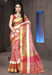 Red Color Cotton Checks Daily Wear Sarees : Ahaliya Collection  YF-51677