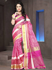 Pink Color Cotton Checks Daily Wear Sarees : Ahaliya Collection  YF-51678