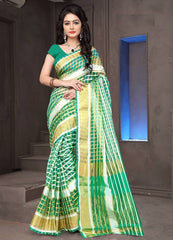 Green Color Cotton Checks Daily Wear Sarees : Ahaliya Collection  YF-51679