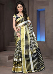 Black Color Cotton Checks Daily Wear Sarees : Ahaliya Collection  YF-51680