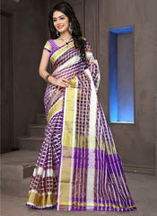 Purple Color Cotton Checks Daily Wear Sarees : Ahaliya Collection  YF-51681